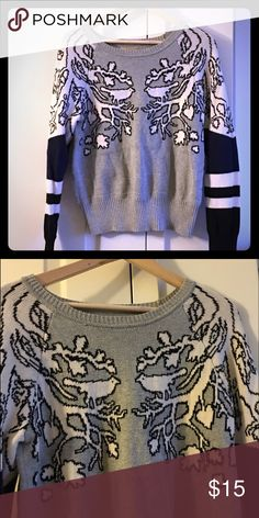 Vera Wang Princess sweater Adorable sweater! I think it may actually be a girls because it's an XL but I'm a small/size 4 in women's and it fits me perfectly. Excellent used condition. The colors are black, white, navy blue and gray. Thanks for looking!  Vera Wang Sweaters Crew & Scoop Necks