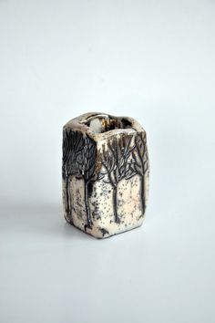 Raku Fired Ceramic Cubic Container with Tree Figures