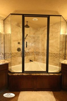 glass enclosed corner tub/shower combo - so you don't need a separate shower enclosure and tub Bathtub Shower Combo, Bathroom Tub Shower, Tub And Shower Faucets, Master Bathroom, Bathroom Ideas, Shower Base, Corner Tub Shower Combo, Big Shower, Shower Doors