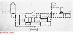 """A """"survey"""" plan of Wimpole Hall by David Laing, dated 1790, in the Sir John Soane's Museum."""