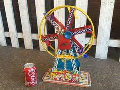 The Ohio Art Co Wind Up Tin Litho Ferris Wheel WORKING 'The Giant Ride' Estimate $75-$150