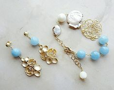 Blue jewelry set, something blue, bridesmaid jewelry, gold jewelry, gemstone jewelry, beaded jewelry, bead jewelry, Valentine gift for her