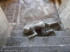 Pompeii, House of M. Fabius Rufus: the stairs open onto a landing on the main lower level of the complex which has a black mosaic floor framed w/a double white border. On these stairs were found the bodies of 3 individuals; a cast of one of them remains in situ. A 4th body was found on the landing itself