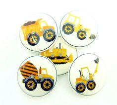 5 Construction Truck Buttons.  3/4 or 20 mm by buttonsbyrobin, $9.99