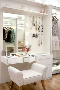 white modern dressing table design for small bedroom interior This is a full guide to choosing your 2018 Dressing tables for bedroom: design, style, ideas, storage, modern dressing table designs for small bedrooms Bedroom Vanity, Dressing Table Design, Home, Closet Bedroom, Stylish Bedroom, Closet Vanity, Closet Designs, Room Decor, Dressing Room Design