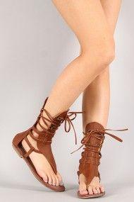 Strappy Mid Calf Gladiator Flat Sandal