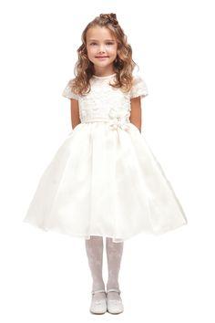 Ivory Floral Lace Cap Sleeves Top Organza Tea Length Skirt Flower Girl Dress JD1211-IV JD1211-IV $48.95 on www.GirlsDressLine.Com