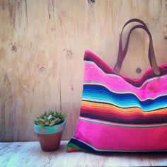Serape Blanket Tote/ Mexican Blanket/ Navajo by TealSuede on Etsy