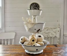 Simply Country Life: Tiered Caddy from Baking Pans and Wood Candle Holders