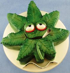 Cannabis Leaf Novelty Carved Cake