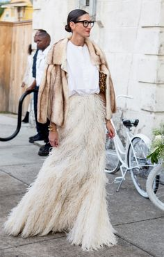Trending Fashion Style: Fringed High-waisted Skirt.  - Jenna Lyons in white top + fur jacket + fair cream feathers high-waisted fringed skirt at Solange knowles's Wedding.