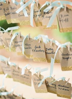 Mint and gold escort cards. A Paper Wedding.