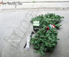 Instructions needed to make tomato cage Christmas tree. I think I would decorate differently but.higher end garland more realistic look Grinch Christmas, Diy Christmas Tree, Outdoor Christmas, Xmas Tree, Christmas Projects, Winter Christmas, Christmas Holidays, Christmas Ideas, Holiday Ideas