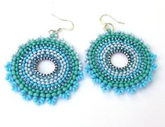 Blue and Turquoise Hoop Seed Bead Earrings  by Anabel27shop,