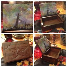 Orig Painting Wood Box Pentacle Witch Cat Halloween Wicca Gothic Folk Art T Foss | eBay