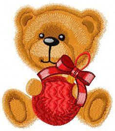 Teddy bear ready for Christmas machine embroidery design. Machine embroidery design. www.embroideres.com