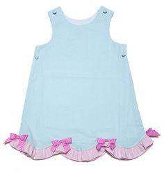 Glorimont Girls Aqua Seersucker Reversible Easter Bunny Jumper Dress
