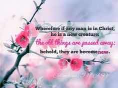 "($7.00) ""Wherefore if any man is in Christ, he is a new creature: the old things are passed away; behold, they are become new."" 2 Corinthians 5:17 ASV Purchase rights to print this scripture image into anything you wish. Picture will come with watermark removed in a .png file format 300dpi."