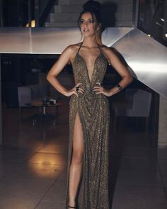 Deep V Neck Brown Long Prom Dresses Split Front Evening Dresses Elegant Dresses, Pretty Dresses, Sexy Dresses, Beautiful Dresses, Prom Dresses, Brown Formal Dresses, Beautiful Dress Designs, Sparkly Dresses, Quinceanera Dresses