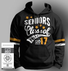 Keep warm during the cold months in this retro-style inspired hooded sweatshirt. Its the perfect hoodie to show off your Senior spirit! -Graphics are lightweight heat press vinyl. -Black color hoodie, cotton/polyester fleece, Available in size * Extra Leavers Hoodies, Vinyl Style, Senior Shirts, College T Shirts, Cheer Shirts, Sweater Design, Mens Sweatshirts, Custom Shirts, Retro Fashion