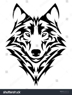 Vector wolf& head as a design ele.Vector wolf& head as a design element on isolated bac… Beautiful wolf tattoo.Vector wolf& head as a design element on isolated background -