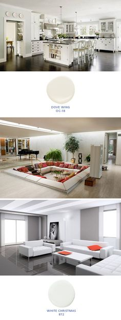 white rooms with Benjamin Moore colors: Dove Wing OC-18; White Christmas 872