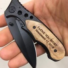 I love you most Personalized Knife, Gift for Boyfriend, Birthday Gift for Him, Gift for Men, Laser Engraved Knife, Gift for Dad, Gift for Husband, Knives. This is our best selling knife! Our aluminum handle with burl wood overlay with a 440 stainless steel blade is the perfect knife for everyday use. It is lightweight but well put together.