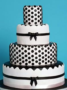 Wedding cake except with red polka dots