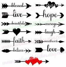 decorate shop These Arrow Words SVG File and Clipart are perfect for any digital cutting machine. You can make shirts for your kids, signs for your home, glass block night lights, and c Clipart, Arrow Words, Arrow Svg, Cricut Explore Air, Silhouette Cameo Projects, Grafik Design, Icon Set, Cricut Design, Planner Stickers