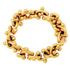 1980s Paloma Picasso Gold Jacks Bracelet for Tiffany & Co.   From a unique collection of vintage link bracelets at http://www.1stdibs.com/jewelry/bracelets/link-bracelets/