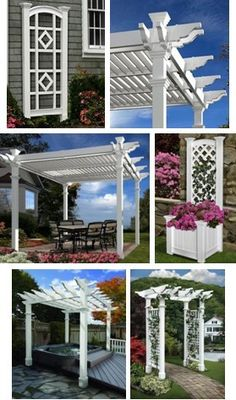 Amazon.com sells elegant, inexpensive, durable, white vinyl pergolas, arbors, trellises, planters, fences and lamp posts by New England Arbors.