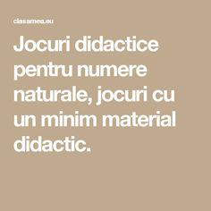 Jocuri didactice pentru numere naturale, jocuri cu un minim material didactic.