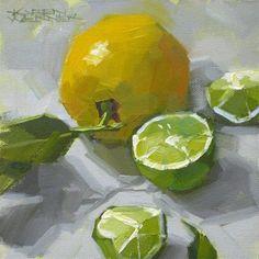 """Daily+Paintworks+-+""""Lemon+Lime""""+-+Original+Fine+Art+for+Sale+-+©+Karen+Werner"""