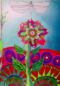 Dragonfly and Flower Mandala by jeannined on Etsy, $75.00