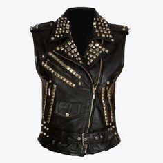 Girls Studded Leather Vest by killstarclothing on Etsy, $235.00