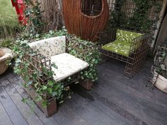 Ivy-Wrapped outdoor chair spotted in Milan.