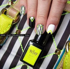 Black white & neon nailsby chelseaqueen