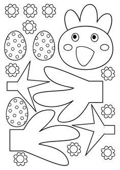 Modèle à imprimer pour fabriquer une cocotte ou poulette de Pâques Easter Arts And Crafts, Spring Crafts, Diy And Crafts, Chicken Crafts, Easter Colouring, Alphabet Crafts, Easter Printables, Easter Activities, Plate Crafts