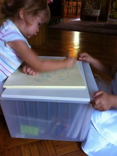 DIY Moveable Kids Storage/Work Space