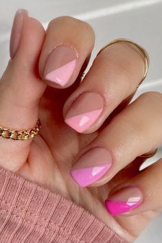 Pink Acrylic Nail Designs, Light Pink Acrylic Nails, Classy Acrylic Nails, Pink Gel Nails, Blue Nail Designs, French Nail Designs, Short Nail Designs, Art Designs, Summer French Nails