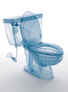 household objects have been made to look like blue prints by sculpter do ho suh using polyester fabric