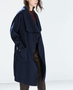 HAND-MADE LONG COAT from Zara Coats Zara, Hands Mad Long, Cold, Long Coats, Blends Long, Handmade, Belts Coats, Wool Coats, Assymetrical Coats