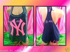 ON SALE! Victoria's Secret Pink L NY Yankees Bling Navy Sequin Racerback Tank T Shirt | eBay