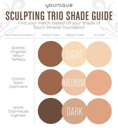 Which Sculpting Trio shade is right for you? Use this handy guide to match your Touch Foundation shade before you order. And don't worryorders for the Sculpting Trio Customer Kudos will be accepted for all of May even for backordered shades. Tag your friends so they know what shade to order!