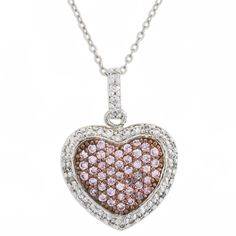 Sterling Silver Pink and White CZ Heart with Chain