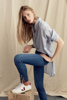 Madewell Side-Button Popover Shirt in Stripe and Veja Esplar Low Sneakers