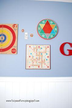 vintage board games as wall decor~~