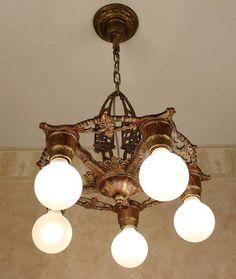 1920 S Cast Iron Antique Vintage Art Deco Ceiling Light Fixture Chandelier