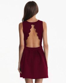 burgundy red dress, backless pleated dress, scallop designed dress - Crystalline