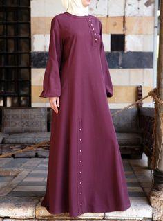 Fashion Arabic Style Illustration Description Hijab Fashion Love the Buttons! Hijab Fashion 2016, Abaya Fashion, Fashion Dresses, Fashion Trends, Mode Abaya, Mode Hijab, Habits Musulmans, Moslem Fashion, Parda